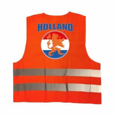 Veiligheidshesje holland met oranje leeuw ek / wk supporter verkleedkleding voor volwassenen