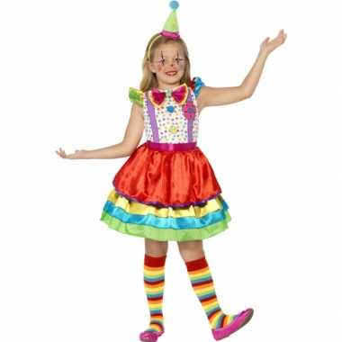 Verkleedkleding gekleurd clown jurkje