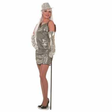 Verkleedkleding glitter jurkjes zilver