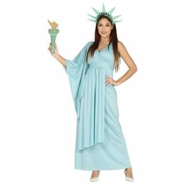 Verkleedkleding jurk vrijheidsbeeld blauw