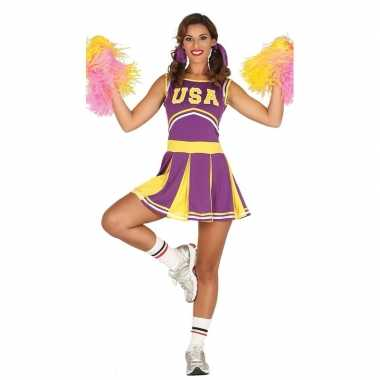 Verkleedkleding paarse cheerleader voor dames