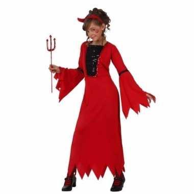 Verkleedkleding rode duiveljurk voor meiden