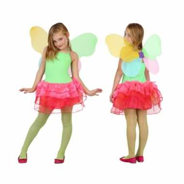 Vlinder verkleedkleding voor kids groen/rood