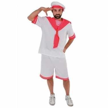 Wit roze matrozen verkleedkleding voor heren