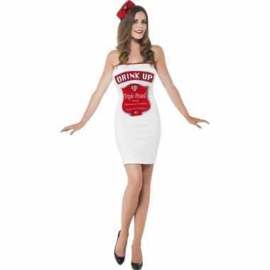 Witte dames verkleedkledings dranklabel