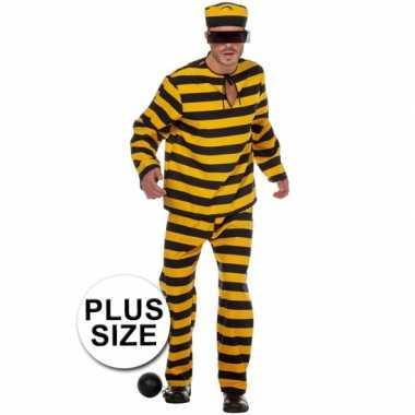 Xl inbreker verkleedkleding zwart/geel voor heren