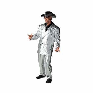 Zilveren bling verkleedkledings voor heren