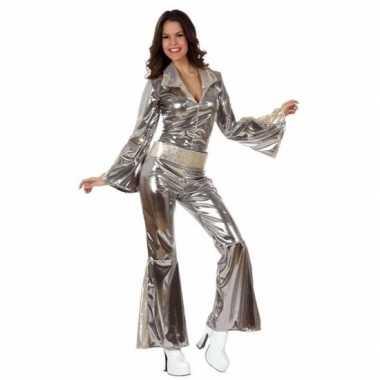 Zilveren dames disco pakjes verkleedkledings