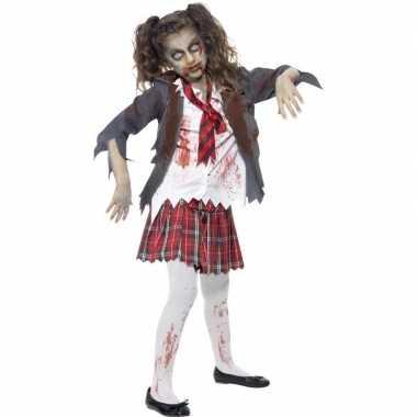 Zombie schoolmeisje verkleedkleding voor meisjes