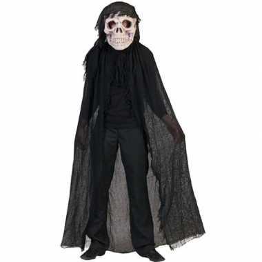Zwart doodshoofd spook verkleedkleding