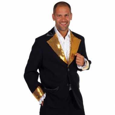 Zwart goud glitter verkleedkleding heren