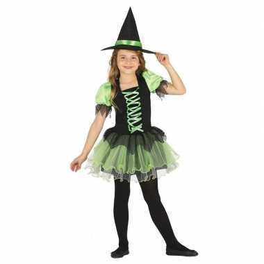 Zwart/groen heksen verkleedkleding voor meisjes