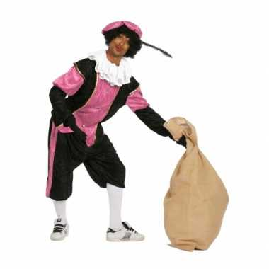 Zwart met roze pieten verkleedkleding