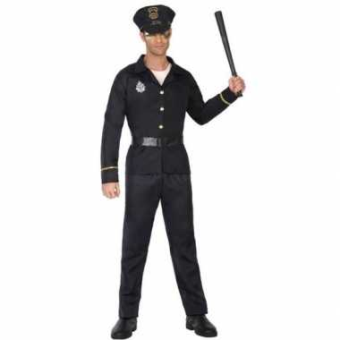 Zwart politie verkleed pak/verkleedkleding voor volwassenen