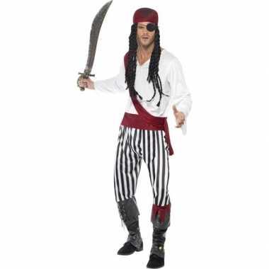Zwart/wit piraten verkleedkleding voor heren