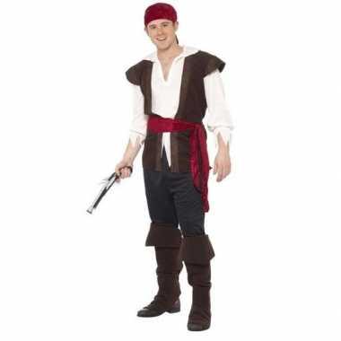 Zwart/wit/rood piraten verkleedkleding voor heren