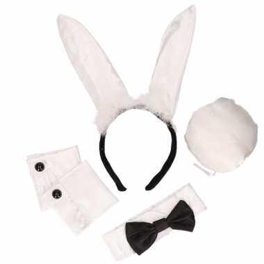 Zwart witte playboy bunny verkleedkleding