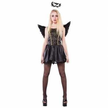 Zwarte engel dames verkleedkleding