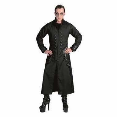 Zwarte gothic/vampier jas verkleedkleding voor heren