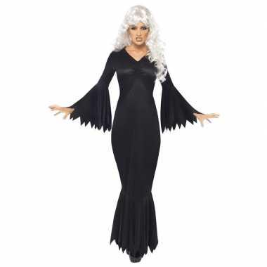 Zwarte lange heksen jurk verkleed verkleedkleding voor dames