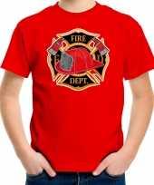 Brandweer logo t-shirt verkleedkleding rood voor kinderen