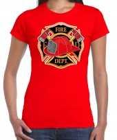 Brandweer logo verkleed t-shirt verkleedkleding rood voor dames