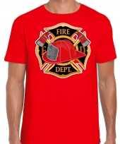 Brandweer logo verkleed t-shirt verkleedkleding rood voor heren