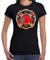 Brandweer logo verkleed t-shirt verkleedkleding zwart voor dames