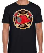 Brandweer logo verkleed t-shirt verkleedkleding zwart voor heren