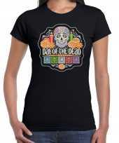 Day of the dead dag van de doden halloween verkleed t-shirt verkleedkleding zwart voor dames