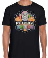 Day of the dead dag van de doden halloween verkleed t-shirt verkleedkleding zwart voor heren