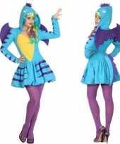 Dierenpak blauwe draak verkleed verkleedkleding jurk voor dames