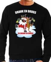Foute kerstsweater verkleedkleding drank en drugs zwart voor heren